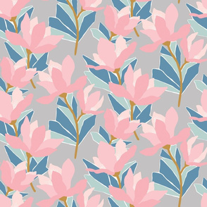 Stylised floral in soft pinks and greens on grey