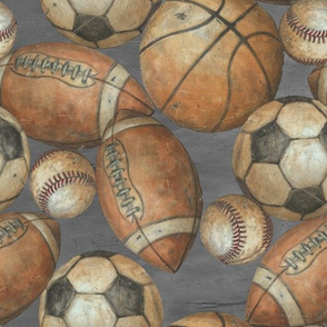 Be the Ball Sports Fabric- Baseball, Football, Soccer, Basketball on Gray