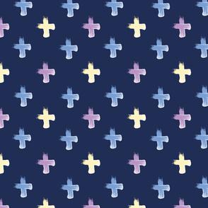 Shoreline Cross Lilac Lemon Blue