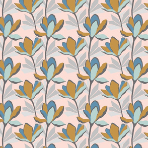 Stylised, block colour pretty floral on pale pink