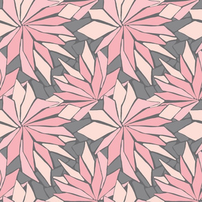 Geometric colour block floral in pinks on greyDusk floral 4