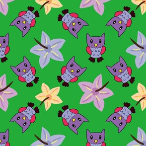 Purple Owl and Fower
