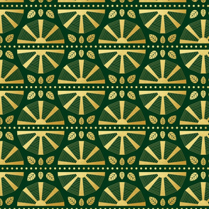 Emerald & Gold Art Deco Fan