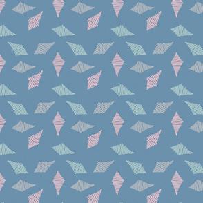 Textured geometric pattern on mid blue