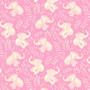 Little Laughing Baby Elephants - monochrome sage soft pink and cream
