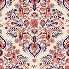 Modern Folk in Coral Red and Indigo - small print
