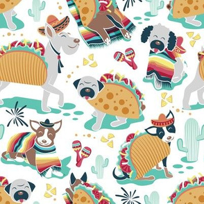 Small scale // Mexican tacos dogs team // white background