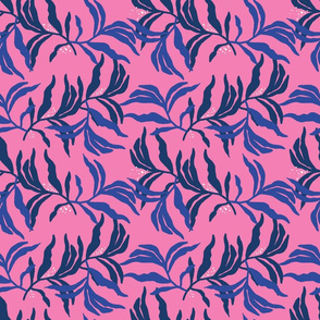 Organic blue leaves on pink base
