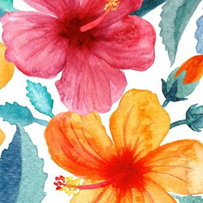 Colorful Watercolor Hibiscus on Clean White - large print