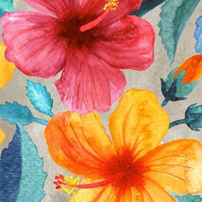 Colorful Watercolor Hibiscus on Silver Grey - large print