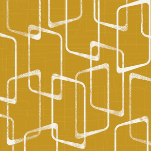 Old Gold and Cream Retro Geometric Shapes Pattern