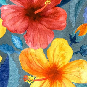 Colorful Watercolor Hibiscus on Grey Blue - large print