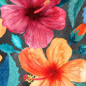 Colorful Watercolor Hibiscus on Dark Charcoal - large print
