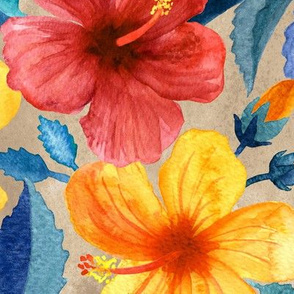 Colorful Watercolor Hibiscus on Warm Beige - large print