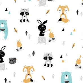 Scandi Woodland - cute forest animals - white