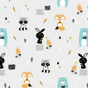 Scandi Woodland - cute forest animals - grey