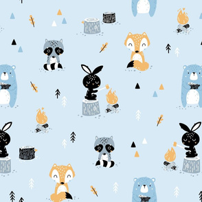 Scandi Woodland - cute forest animals - baby blue
