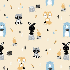 Scandi Woodland - cute forest animals - peach