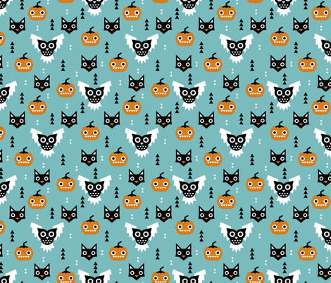 Halloween friends owls pumpkins and cats geometric trend illustration pattern for kids orange blue gender neutral fabric by littlesmilemakers on Spoonflower - custom fabric