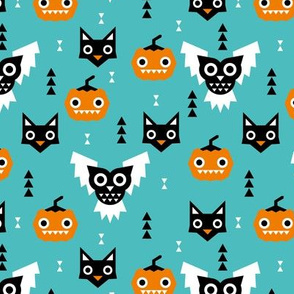 Halloween friends owls pumpkins and cats geometric trend illustration pattern for kids orange blue gender neutral
