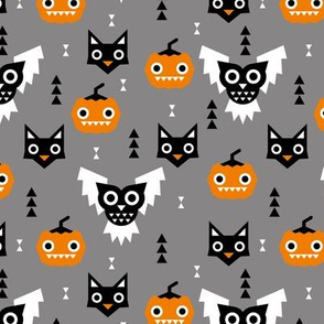 Halloween friends owls pumpkins and cats geometric trend illustration pattern for kids orange gray black and orange gender neutral