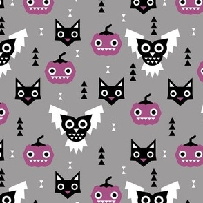 Halloween friends owls pumpkins and cats geometric trend illustration pattern for kids orange gray black and purple