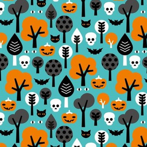 Halloween friends woodland trees bats owls pumpkins and cats geometric trend illustration pattern for kids orange blue gender neutral