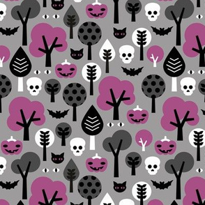 Halloween friends woodland trees bats owls pumpkins and cats geometric trend illustration pattern for kids orange gray black and purple