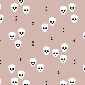 Minimal geometric skulls and arrows design halloween horror print gender neutral beige