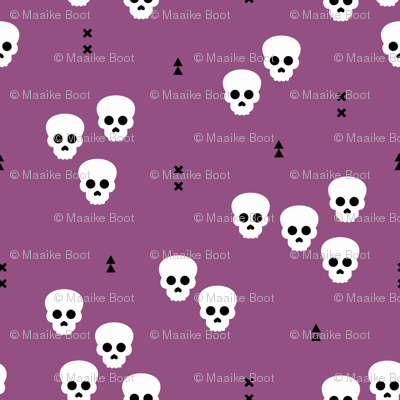 Minimal geometric skulls and arrows design halloween horror print gender neutral purple