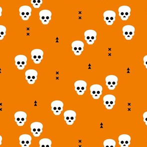 Minimal geometric skulls and arrows design halloween horror print gender neutral orange