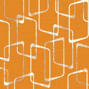 Retro Faded Orange Geometric Shapes Pattern