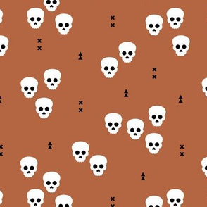 Minimal geometric skulls and arrows design halloween horror print gender neutral copper fall brown