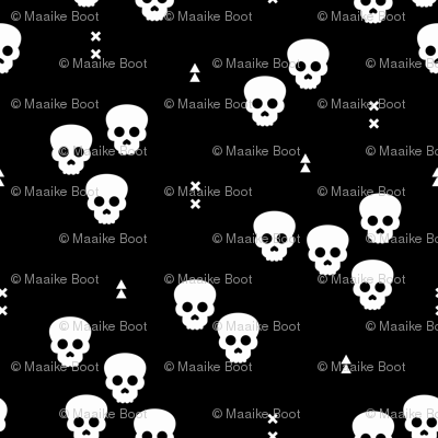 Minimal geometric skulls and arrows design halloween horror print gender neutral monochrome black and white