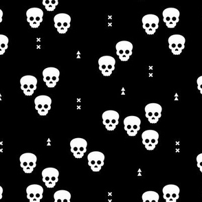 Minimal geometric skulls and arrows design halloween horror print gender neutral monochrome black and white