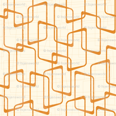 Reverse Faded Orange Retro Geometric Shapes Pattern
