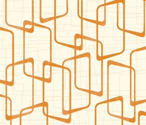 Reverse Faded Orange Retro Geometric Shapes Pattern fabric by itsjensworld on Spoonflower - custom fabric