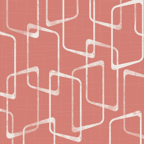 Salmon Pink Abstract  Geometric Retro Pattern