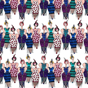 Whimsical Flappers on White Background