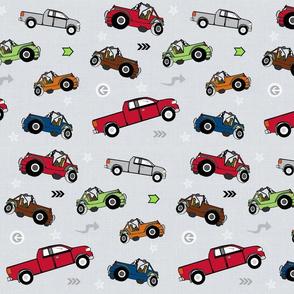 jeeps pickups 105 arrows stars - gray linen-apple green jeep
