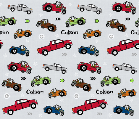jeeps pickups 105 arrows stars - gray linen-apple green jeep-personalized for COLSON fabric by drapestudio on Spoonflower - custom fabric