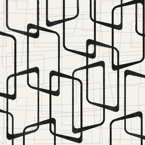 Reverse Soft Black and White Retro Geometric Pattern