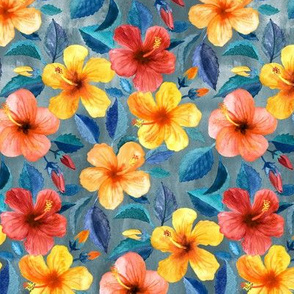 Colorful Watercolor Hibiscus on Grey Blue - small print