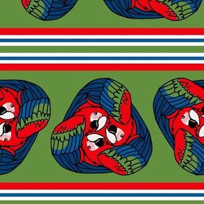 Tripartite Parrot Stripe on Green