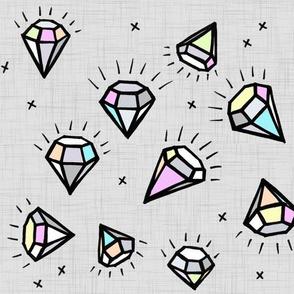 Pastel Coloured Diamonds on Linen