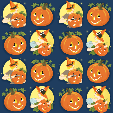 Vintage Halloween Costume Party fabric by little_bunny_sunshine on Spoonflower - custom fabric