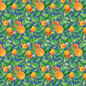 Watercolor Oranges and flowers - on royal blue