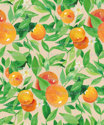 Watercolor Oranges and flowers - on taupe
