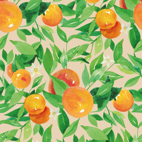 Watercolor Oranges and flowers - on taupe fabric by aliceelettrica on Spoonflower - custom fabric