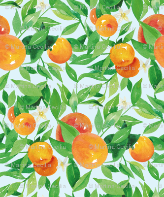 Watercolor Oranges and flowers - on baby blue